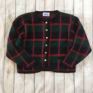Vintage Red and Green Plaid Cardigan Sweater